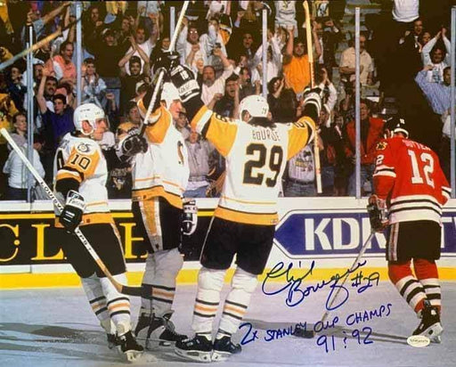 "Phil Bourque Signed Team Celebration 16x20 Photo with ""2X Stanley Cup Champs"" and ""91 & 92"" - DAMAGED"