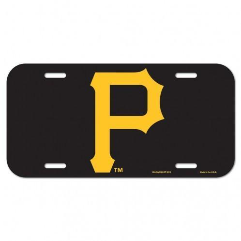 "Pirates Black Metal License Plate with Yellow ""P"""
