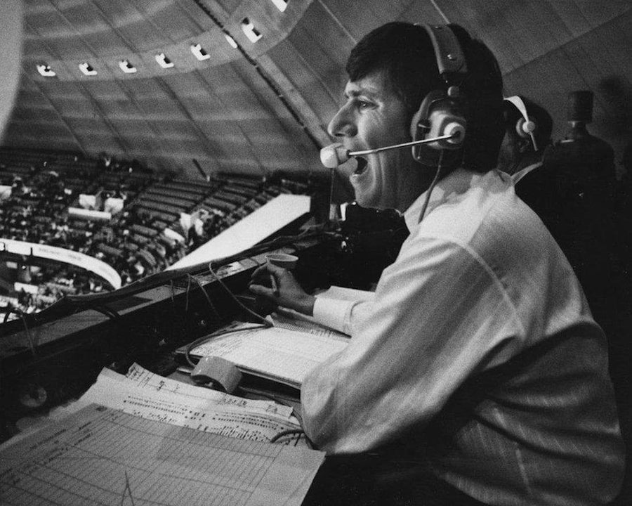 PRE-SALE: Mike Lange Autographed In Booth B&W 8x10 Photo with Free HOF Inscription No Thanks, Just HOF