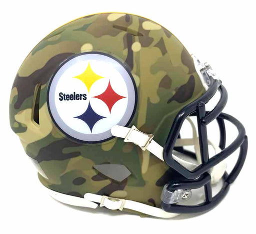 Pre-Sale: Rocky Bleier Signed Pittsburgh Steelers CAMO Mini Helmet