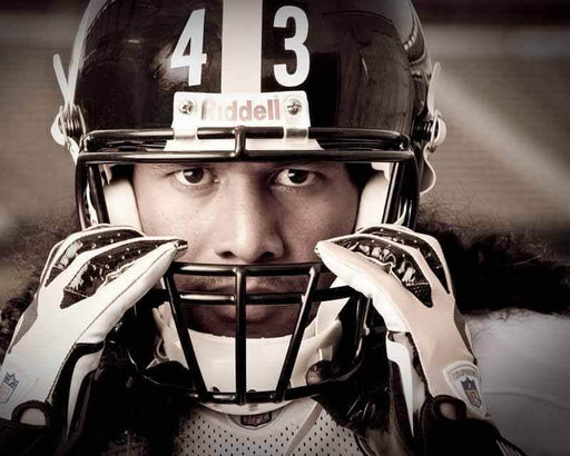 Pre-Sale: Troy Polamalu Signed NEW Grabbing Facemask 20x24 Canvas