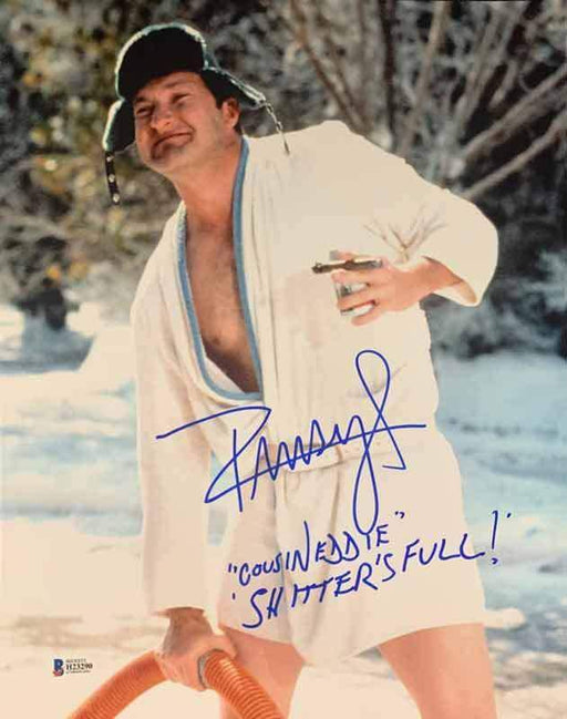 Randy Quaid Signed Christmas Vacation Close Up in Robe 11x14 Photo with Shitter's Full and Cousin Eddie