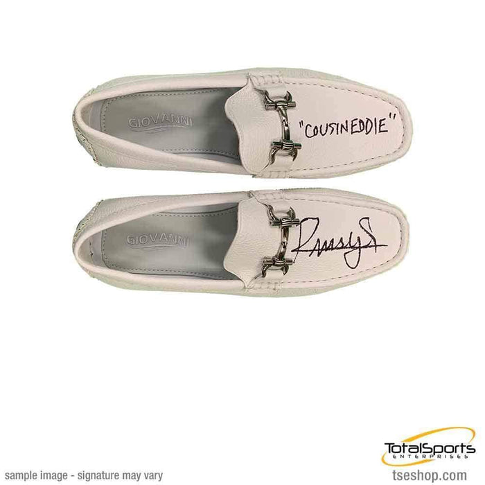 Randy Quaid Signed White Loafers (1 Pair) with Cousin Eddie