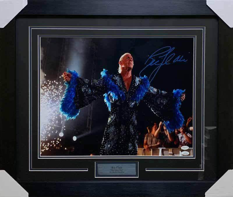 Ric Flair Signed in Arms Out in Blue Robe 16x20 Photo - Professionally Framed