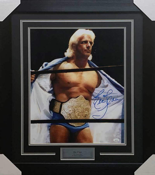 Ric Flair Signed in Blue Robe 16x20 Photo - Professionally Framed