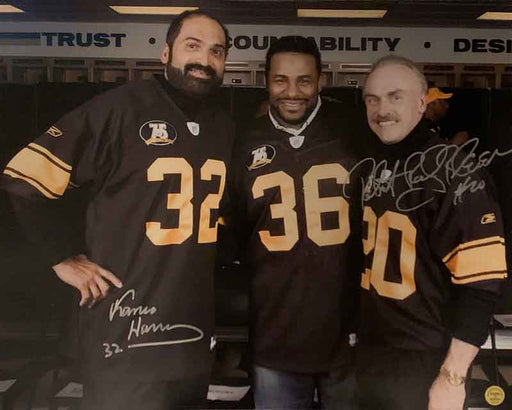 "Robert ""Rocky"" Bleier and Franco Harris Signed with Jerome Wearing Steelers 75th Anniversary Jers. 16x20 Photo (EXCLUSIVE Signature!)"