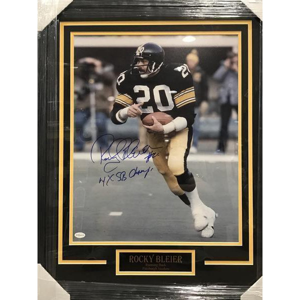 Rocky Bleier Autographed Framed 16x20 Photo with 4X SB Champs