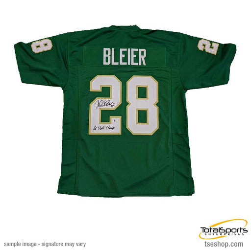 Rocky Bleier Autographed Green College Jersey with '66 Natl Champs