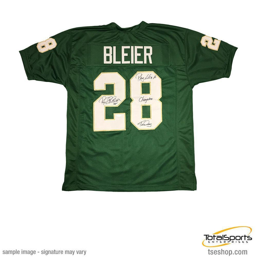 "Rocky Bleier Autographed Green College Jersey with ""Play Like a Champion Today"""