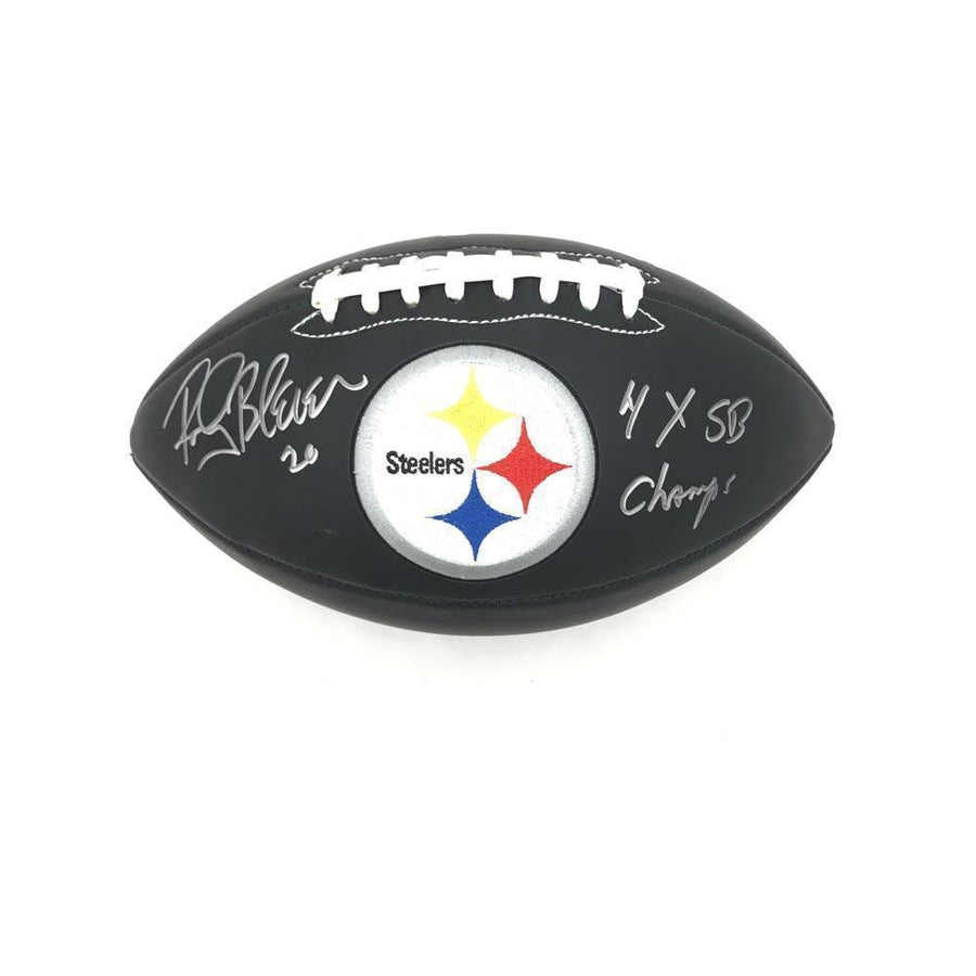 Rocky Bleier Autographed Pittsburgh Steelers Black Leather Football Inscribed ''4X SB CHAMPS''
