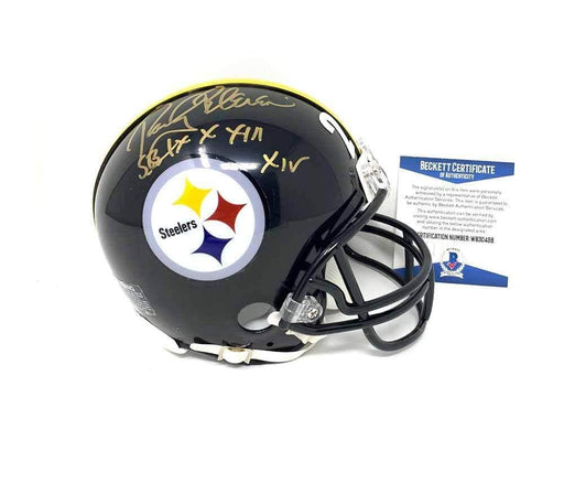 "Rocky Bleier Autographed Pittsburgh Steelers Black Mini Helmet Inscribed ""SB IX  X XiII  XIV"" - DAMAGED"