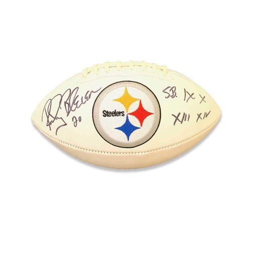 Rocky Bleier Autographed Pittsburgh Steelers White logo Football Inscribed IX,X,XIII,XIV