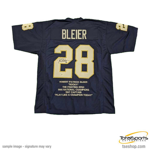 Rocky Bleier Autographed STAT Blue College Jersey