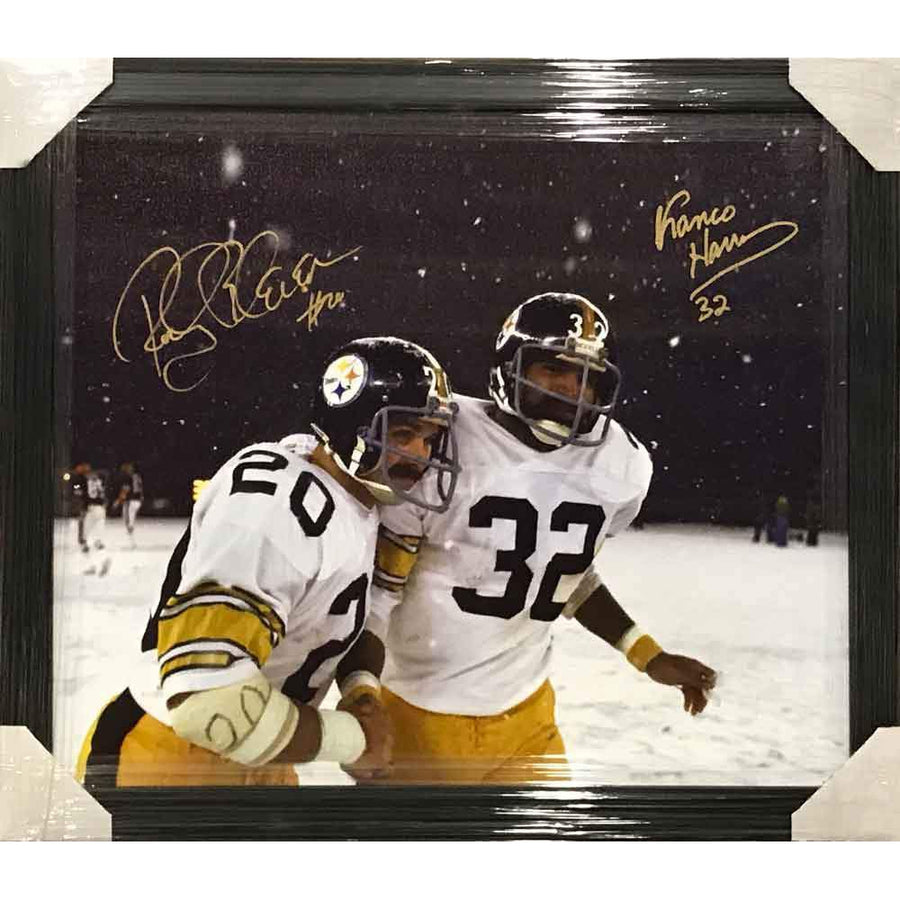 Rocky Bleier / Franco Harris In Snow Cover Dual Signed 26x34 Canvas - Professionally Framed