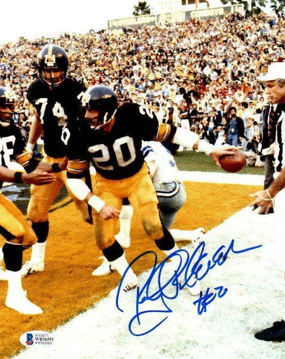 Rocky Bleier Signed Handing Ball to Ref After TD 8x10 Photo