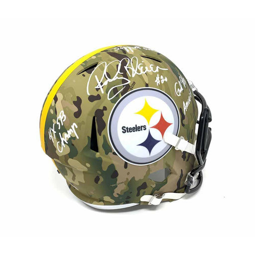 Rocky Bleier Signed Pittsburgh Steelers CAMO Full Size Replica Helmet with 3 Inscriptions
