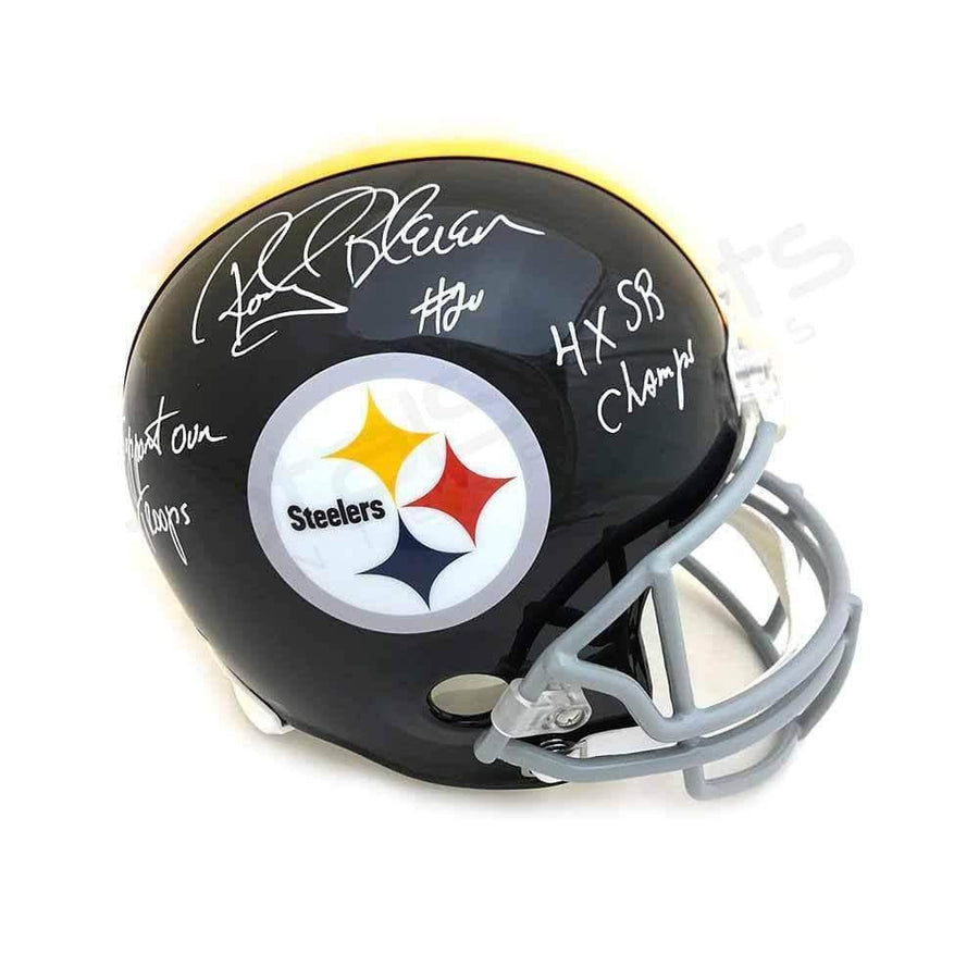 Rocky Bleier Signed Pittsburgh Steelers TB Full Size Replica Helmet with Support Our Troops and 4X SB Champs