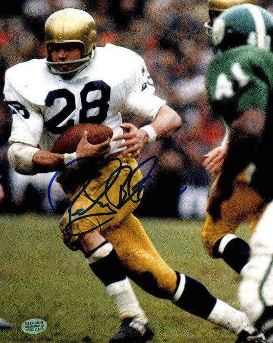 Rocky Bleier Signed Running with Football Notre Dam 8x10 Photo