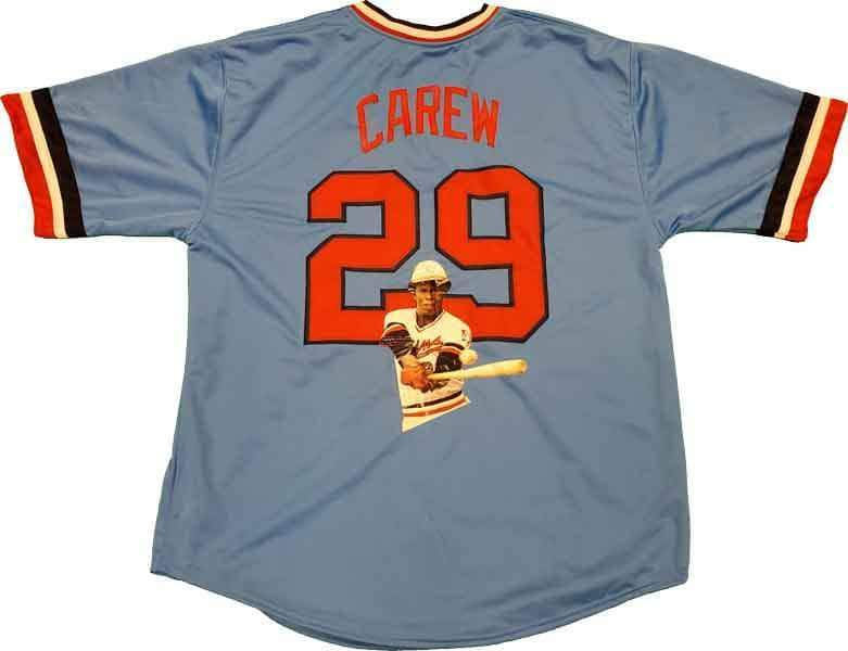 Rod Carew Unsigned Photo Enhanced Custom Stitched Football Jersey Size XL New No Brands/Logos