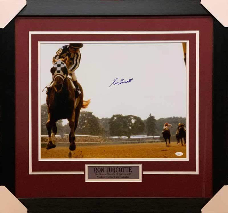 Ron Turcotte (Rider of Secretariat) Signed Color 16x20 Photo - Professionally Framed