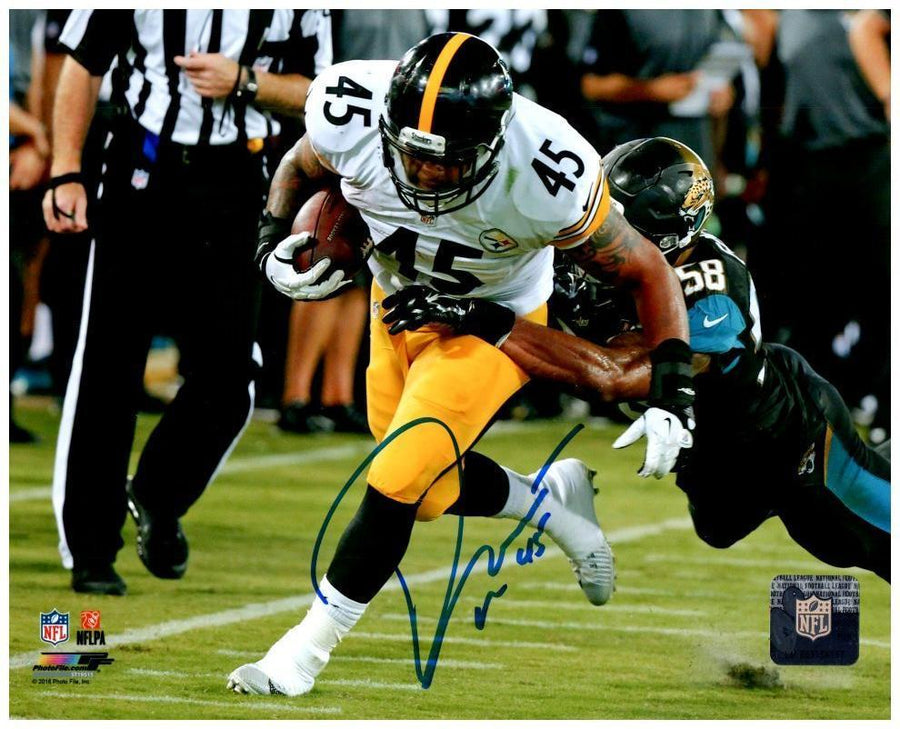 Roosevelt Nix Signed Running with Ball in White 8x10