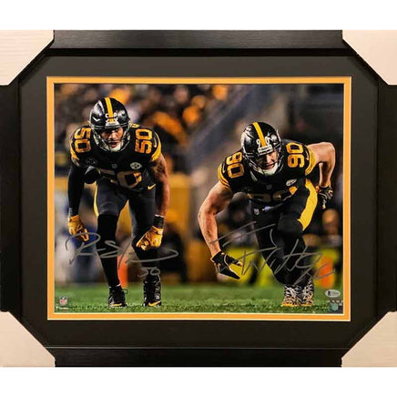 Ryan Shazier And Tj Watt Dual Signed Taking Off 16X20 Photo (No Nameplate)  - Professionally Framed