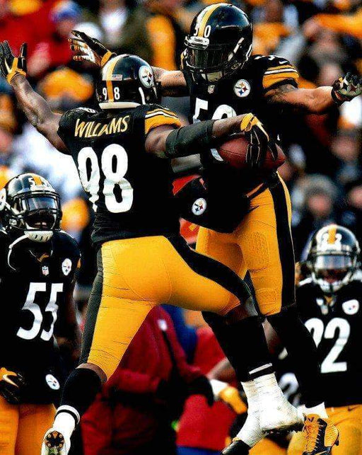 Ryan Shazier and Vince Williams Chest Bump in Black Unsigned 8x10 Photo