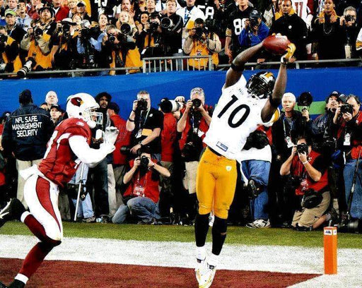Santonio Holmes SB 43 Catch (Front View) Unsigned Licensed 8x10 Photo