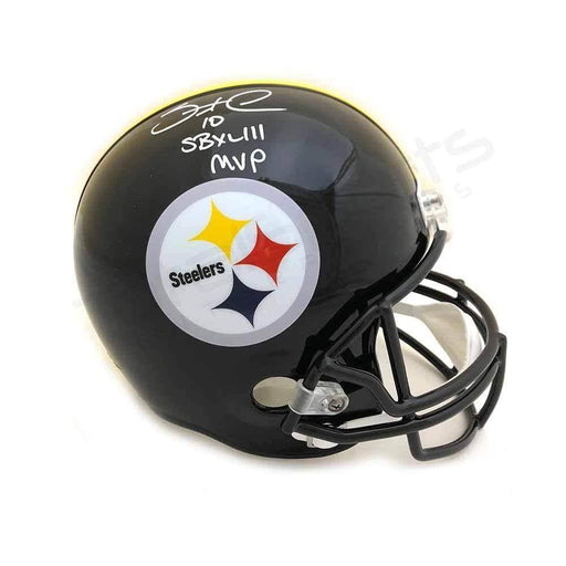"Santonio Holmes Signed PIttsburgh Steelers Black Full Size Helmet with ""SB XLIII MVP"""