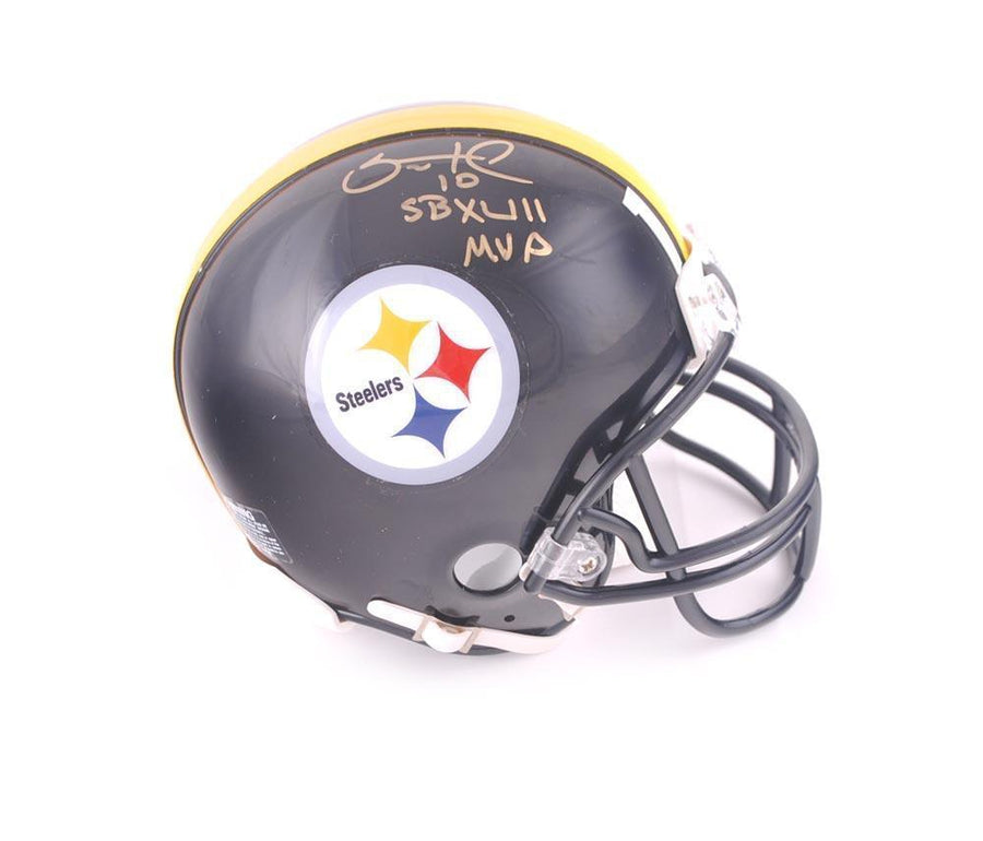 "Santonio Holmes Signed PIttsburgh Steelers Black Mini Helmet with ""SB XLIII MVP"""