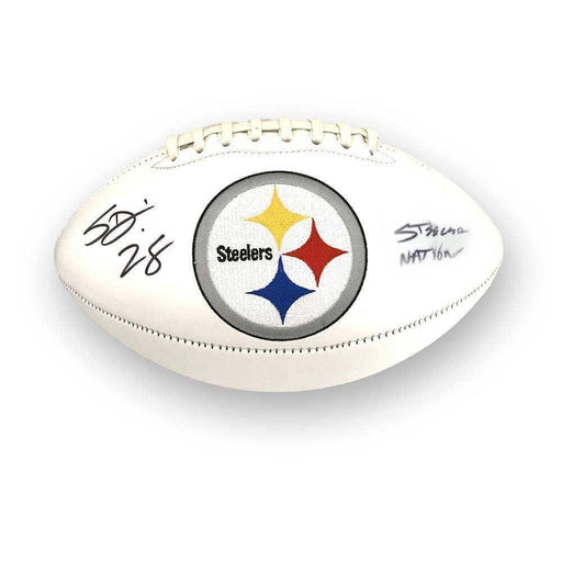 Sean Davis #28 Signed Pittsburgh Steelers White Logo Football with Steeler Nation - DAMAGED