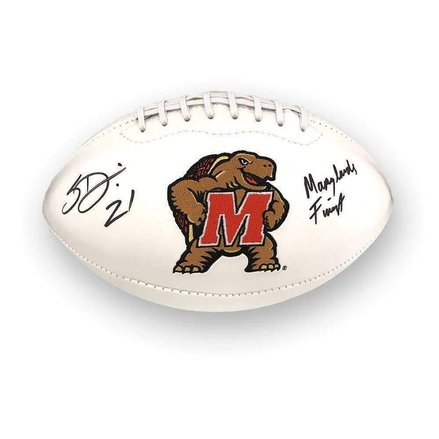 "Sean Davis Signed Maryland White Logo Football with ""Marylands Finest"""
