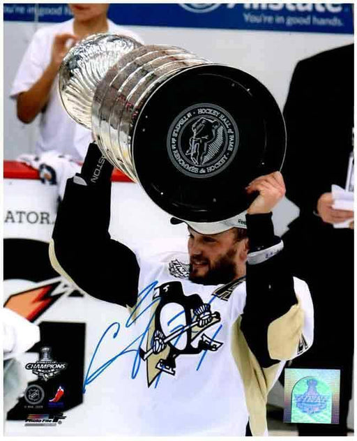 Sergei Gonchar Autographed Raising 2009 Stanley Cup 8x10 Photo - DAMAGED