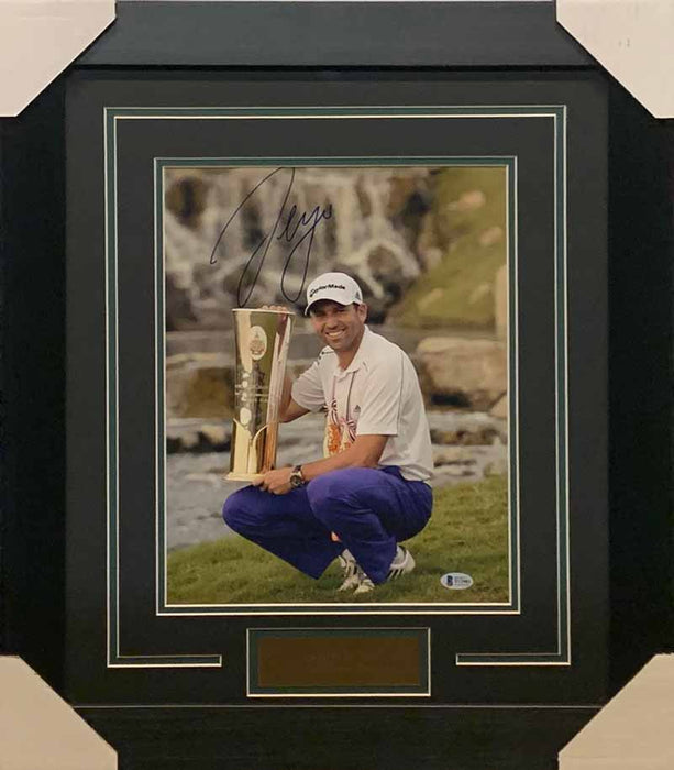 Sergio García Signed Posing with Trophy 11x14 Photo - Professionally Framed