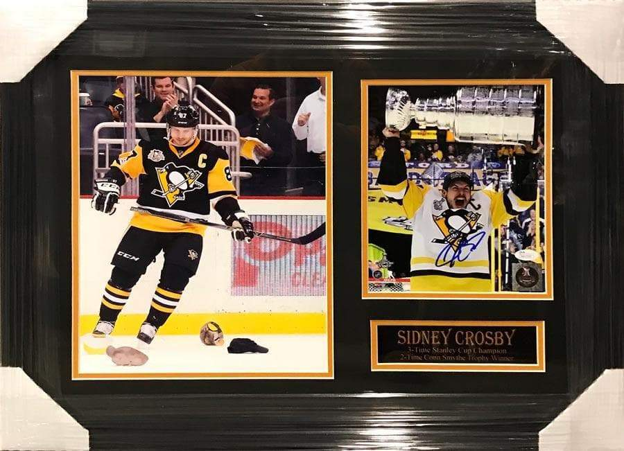Sidney Crosby 11x14 Hat Trick with Signed Raising Cup 8x10 Photo - Professionally Framed