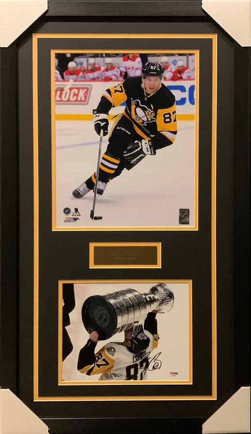 Sidney Crosby 11x14 Skating Black Uniform With Signed Kissing Cup 8x10 Photo - Professionally Framed