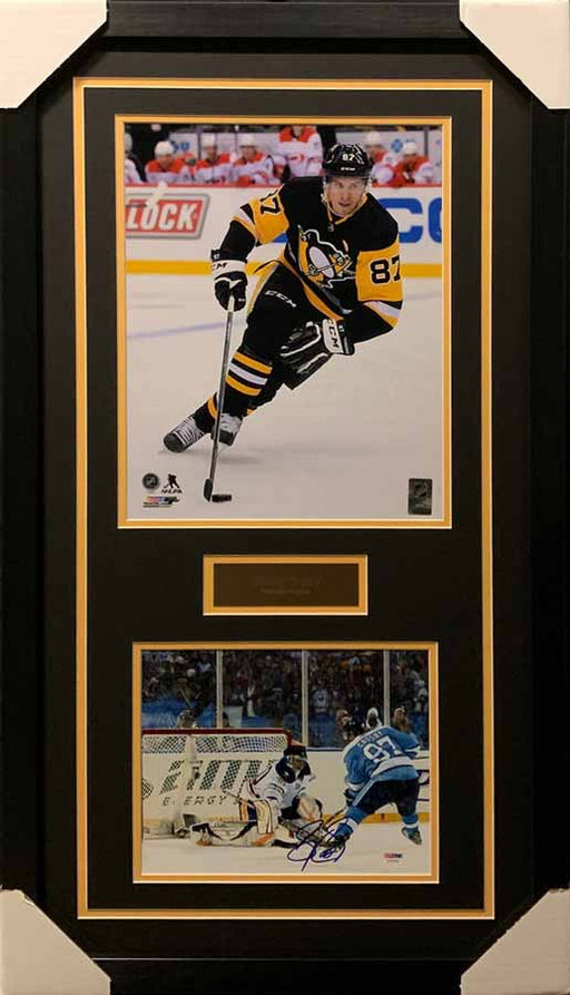 Sidney Crosby 11x14 Skating Black Uniform With Signed Shooting in Baby Blue Winter Classic Uniforms 8x10 Photo - Professionally Framed