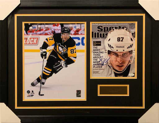 Sidney Crosby 11x14 Skating Black Uniform With Signed SI Cover 8x10 Photo - Professionally Framed