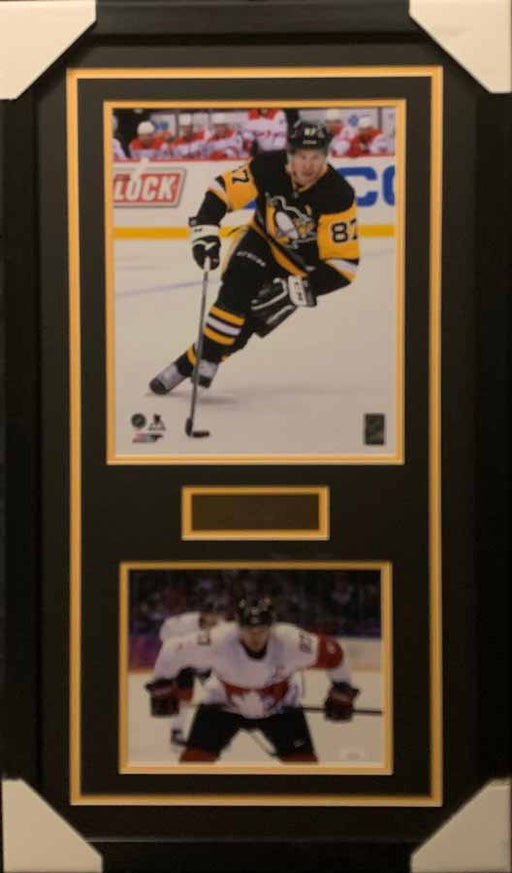 Sidney Crosby 11x14 Skating Black Uniform With Signed Stick on Hips (Canada) 8x10 Photo - Professionally Framed