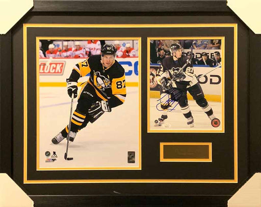 Sidney Crosby 11x14 Skating Black Uniform With Signed Vega Black Uniform 8x10 Photo - Professionally Framed