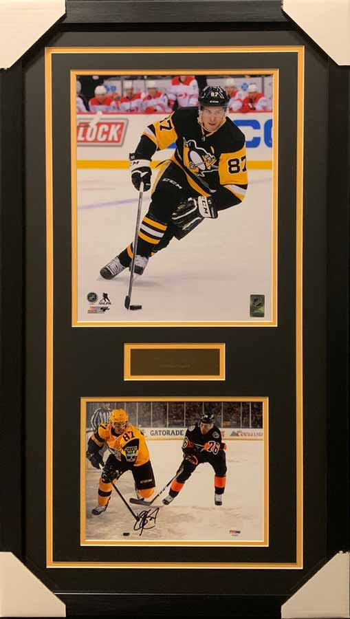 Sidney Crosby 11x14 Skating Black Uniform With Signed Winter Classic (Flyers) 8x10 Photo - Professionally Framed