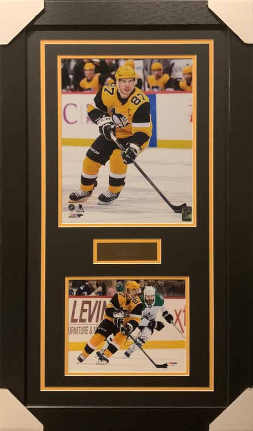 Sidney Crosby 11x14 Winter Classic With Signed Skating with Puck in Winter Classic Uniforms 8x10 Photo - Professionally Framed