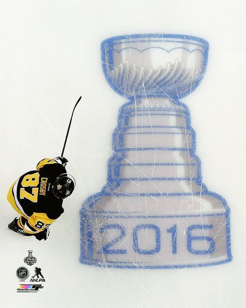 Sidney Crosby 8x10 Skating By Stanley Cup - Unsigned