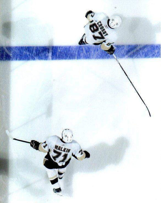 Sidney Crosby and Evgeni Malkin Overhead Unsigned 8x10 Photo