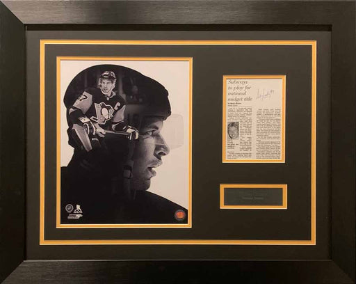 Sidney Crosby Custom B&W 11x14 With Signed (Full Youth Signature!) Newspaper Article 8x10 Photo - Professionally Framed