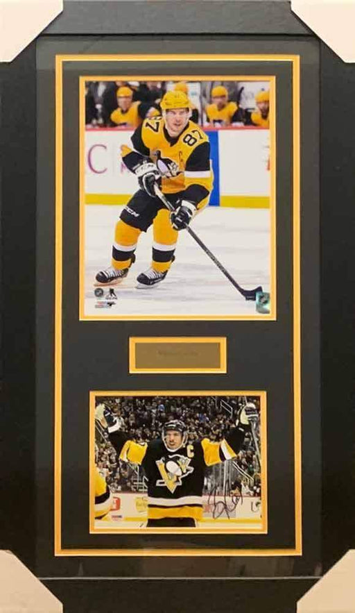 Sidney Crosby Signed Arms Raised in Black 8x10 Photo with Skating in Alternate 11x14 Photo - Professionally Framed