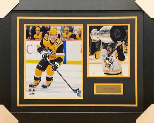 Sidney Crosby Signed Raising Cup 8x10 Photo with Skating in Alternate 11x14 Photo - Professionally Framed