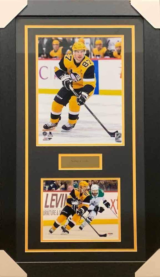 Sidney Crosby Signed Skating in Alternate 8x10 Photo with Skating in Alternate 11x14 Photo - Professionally Framed