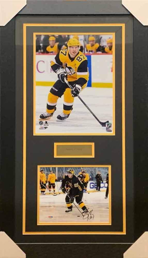 Sidney Crosby Signed Skating in Winter Classic 8x10 Photo with Skating in Alternate 11x14 Photo - Professionally Framed