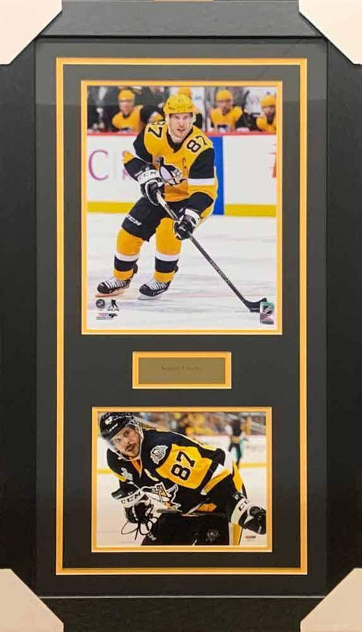 Sidney Crosby Signed Stick on Thighs 8x10 Photo with Skating in Alternate 11x14 Photo - Professionally Framed
